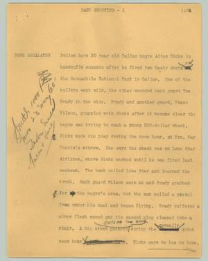 Primary view of object titled '[News Script: Bank shooting]'.