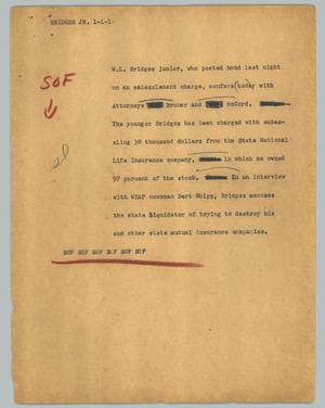 Primary view of object titled '[News Script: Bridges Jr.]'.