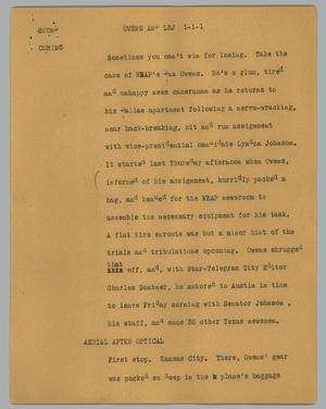 Primary view of object titled '[News Script: Owens and LBJ]'.