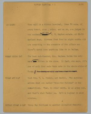 Primary view of object titled '[News Script: Kitten Karnival]'.