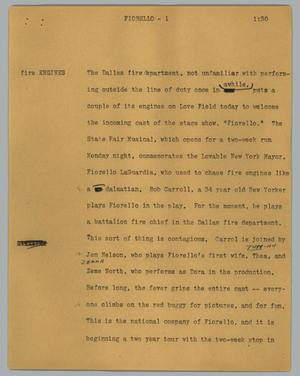 Primary view of object titled '[News Script: Fiorello]'.