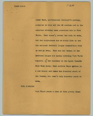 Primary view of object titled '[News Script: Txans]'.