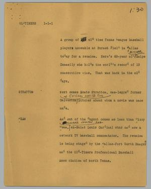 Primary view of object titled '[News Script: Oldtimers]'.