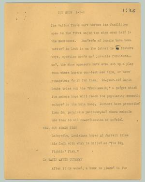 Primary view of object titled '[News Script: Toy show]'.
