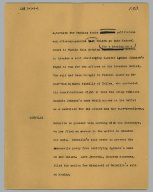 Primary view of object titled '[News Script: LBJ]'.