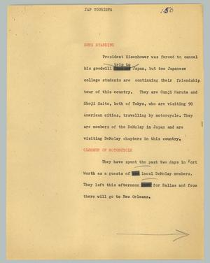 Primary view of object titled '[News Script: Jap tourists]'.
