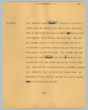 Primary view of object titled '[News Script: Kills daughter]'.