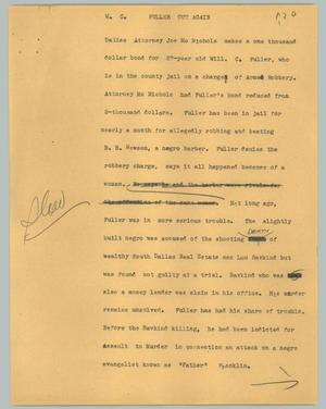 Primary view of object titled '[News Script: Fuller out agian]'.