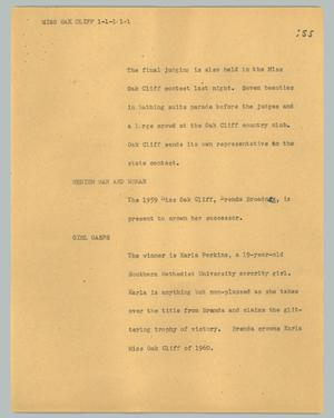 Primary view of object titled '[News Script: Miss Oak Cliff]'.