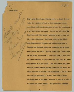 Primary view of object titled '[News Script: Negro cops]'.