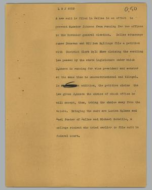 Primary view of object titled '[News Script: LBJ suit]'.