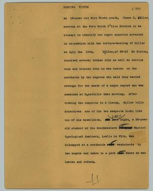 Primary view of object titled '[News Script: Beating victim]'.