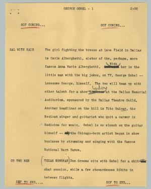 Primary view of object titled '[News Script: George Gobel]'.