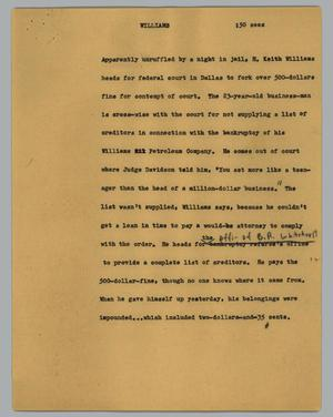 Primary view of object titled '[News Script: Williams]'.