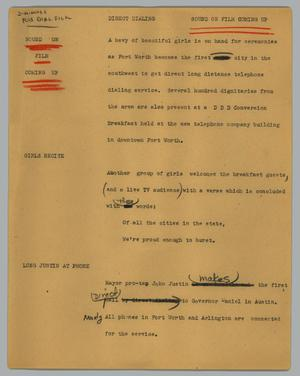 Primary view of object titled '[News Script: Direct dialing]'.