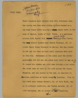 Primary view of object titled '[News Script: Truck wreck]'.