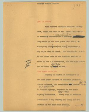 Primary view of object titled '[News Script: Freeway ribbon cutting]'.
