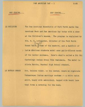 Primary view of object titled '[News Script: Pan American day]'.