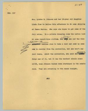 Primary view of object titled '[News Script: Mrs. LBJ]'.