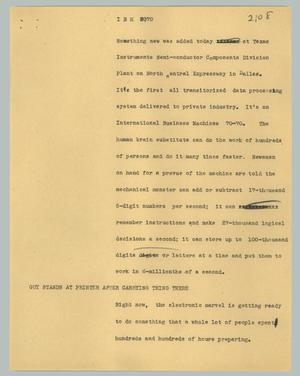 Primary view of object titled '[News Script: IBM 7070]'.