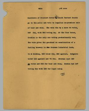 Primary view of object titled '[News Script: Wets]'.