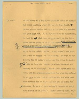 Primary view of object titled '[News Script: Oak Cliff shooting]'.