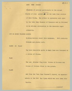 Primary view of object titled '[News Script: Lake Como parade]'.