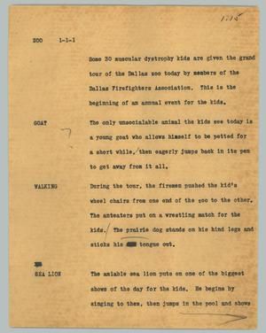 Primary view of object titled '[News Script: Zoo]'.