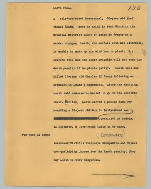 Primary view of object titled '[News Script: Leath trial]'.