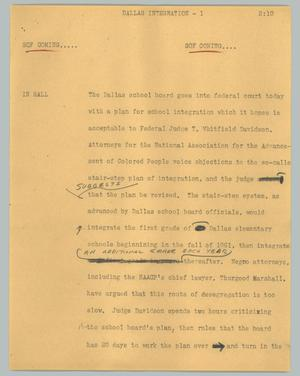 Primary view of object titled '[News Script: Dallas integration]'.