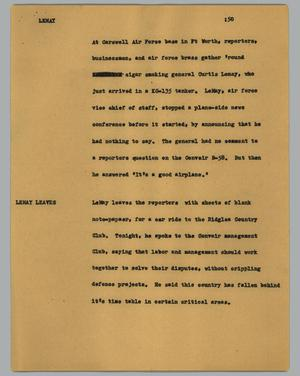 Primary view of object titled '[News Script: Lemay]'.