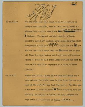Primary view of object titled '[News Script: Lion shot]'.