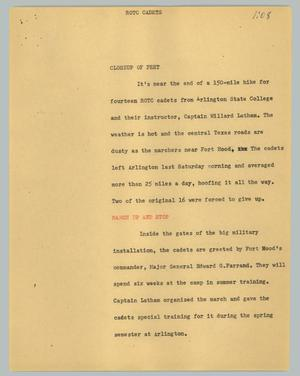 Primary view of object titled '[News Script: ROTC Cadets]'.