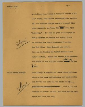 Primary view of object titled '[News Script: Brazil girl]'.