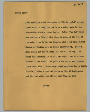 Primary view of object titled '[News Script: Walter Spout]'.