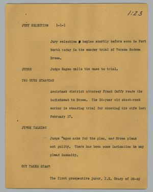 Primary view of object titled '[News Script: Jury selection]'.