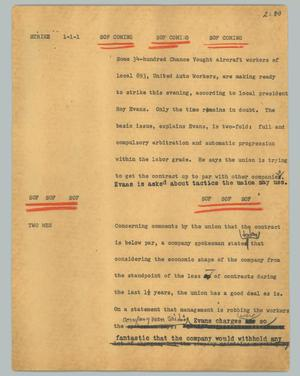 Primary view of object titled '[News Script: Strike]'.