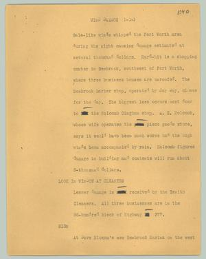 Primary view of object titled '[News Script: Wind damage]'.