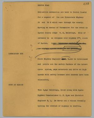 Primary view of object titled '[News Script: Denton road]'.