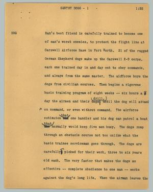 Primary view of object titled '[News Script: Sentry dogs]'.