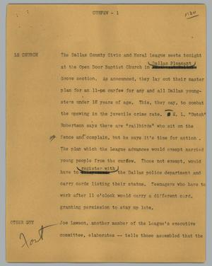 Primary view of object titled '[News Script: Curfew]'.