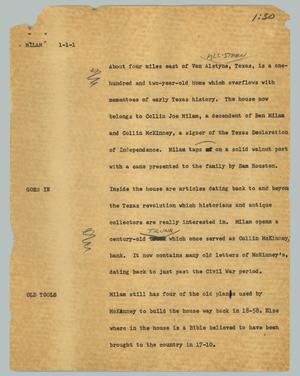 Primary view of object titled '[News Script: Milam]'.