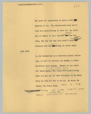 Primary view of object titled '[News Script: Fishing-summertime]'.