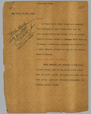Primary view of object titled '[News Script: Lewisville storm]'.