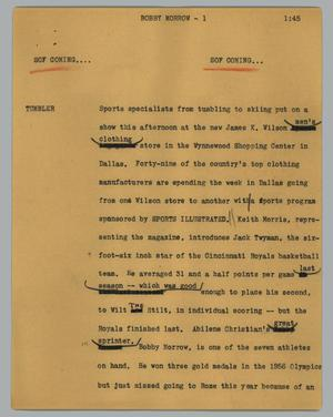 Primary view of object titled '[News Script: Bobby Morrow]'.