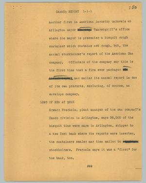 Primary view of object titled '[News Script: Canned report]'.
