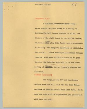 Primary view of object titled '[News Script: Football coaches]'.