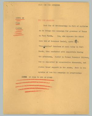Primary view of object titled '[News Script: Jack Cox for governor]'.