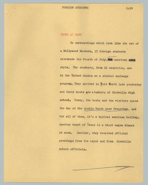Primary view of object titled '[News Script: Foreign students]'.