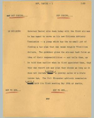 Primary view of object titled '[News Script: Governor Daniel]'.